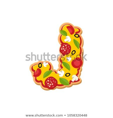 Letter J pizza font. Italian meal alphabet. Lettring fast food Stock photo © popaukropa