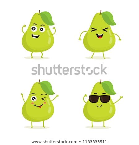 Gelukkig peer vruchten groen blad cartoon mascotte karakter Stockfoto © hittoon
