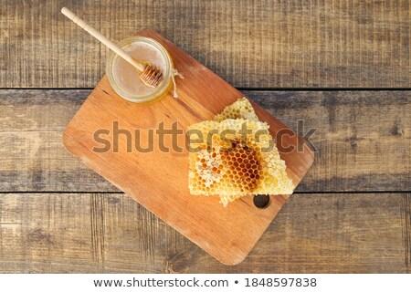 Honingraat oude houten gezonde voeding exemplaar ruimte Stockfoto © Melnyk