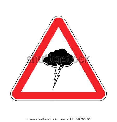 Attention Thunderstorm. Red prohibitory triangular road sign. Ca Stock photo © MaryValery