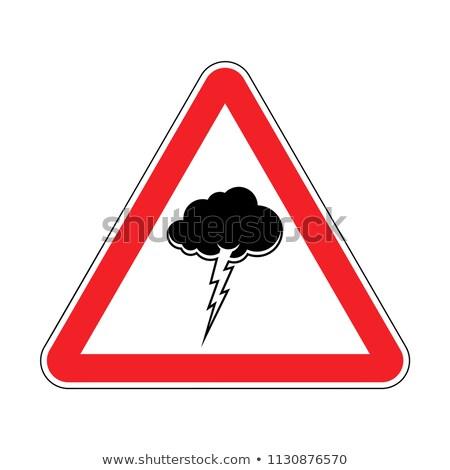 Uwaga burza z piorunami czerwony znak drogowy ostrożność Chmura Zdjęcia stock © MaryValery