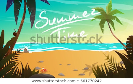 Summertime on the beach. Palms and plants around.Cartoon vector. Summer vacation stock photo © Natali_Brill