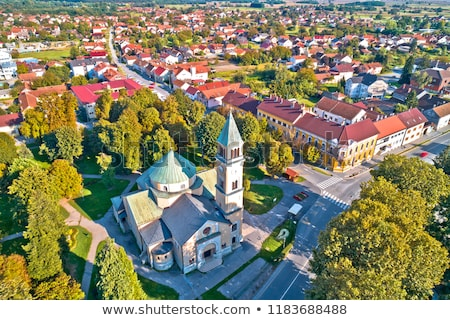 town of durdevac church and rooftops aerial view stock photo © xbrchx