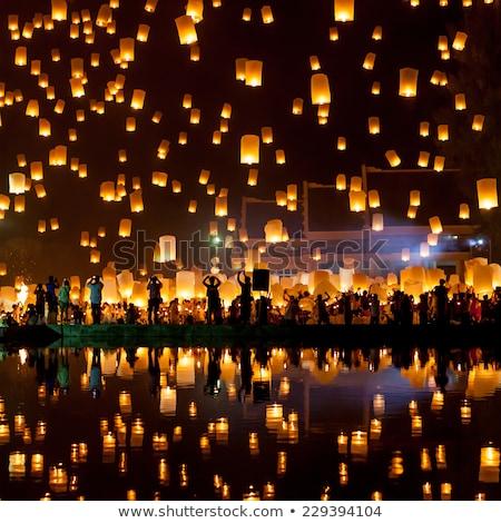 Chinois lanternes lac nuit eau Photo stock © MikhailMishchenko