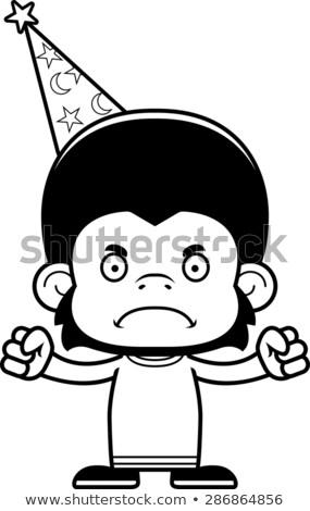 Rajz mérges csimpánz néz grafikus Stock fotó © cthoman