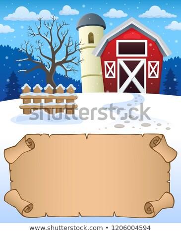Faible parchemin hiver ferme papier arbre Photo stock © clairev