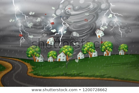 Cyclone hit the rural village Stock photo © bluering