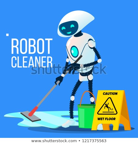 robot cleaner washing the floor with bucket and mop in hand vector isolated illustration stock photo © pikepicture