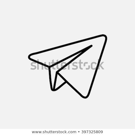 Uçak mavi düğme ikon vektör telgraf Stok fotoğraf © MarySan