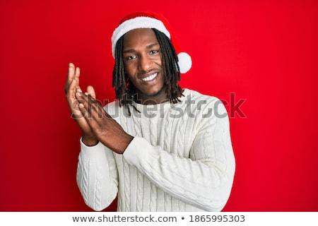 Portret radosny człowiek sweter Zdjęcia stock © deandrobot