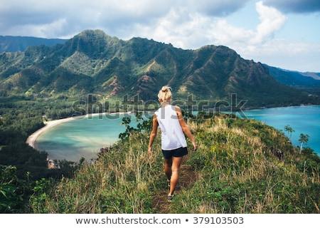 girl enjoying vacation and exploring beautiful waterfall Stock photo © Lopolo