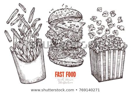 Sandwich patatine fritte fast food set pane Foto d'archivio © robuart