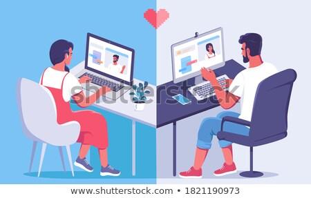 man · boodschapper · illustratie · kantoor · werk - stockfoto © decorwithme