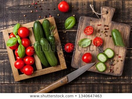 Organik domates salatalık fesleğen havlu Stok fotoğraf © DenisMArt
