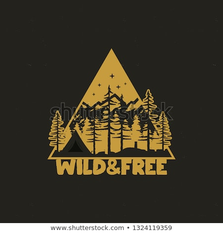 Camping Badge, adventure patch - wild and free explorer quote. Moutnain travel logo in monochrome st Stock photo © JeksonGraphics