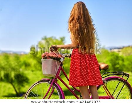 blond hair girl_road bike Stock photo © toyotoyo