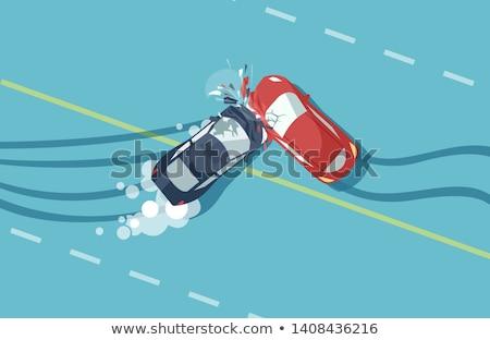 incidente · due · auto · isolato · bianco · strada - foto d'archivio © lightsource