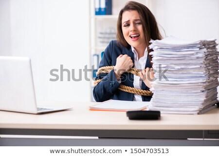 vrouw · business · laptop · achtergrond · veiligheid · zakenman - stockfoto © elnur