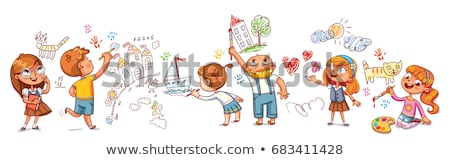 Children drawing with pencils in play school Stock photo © Kzenon