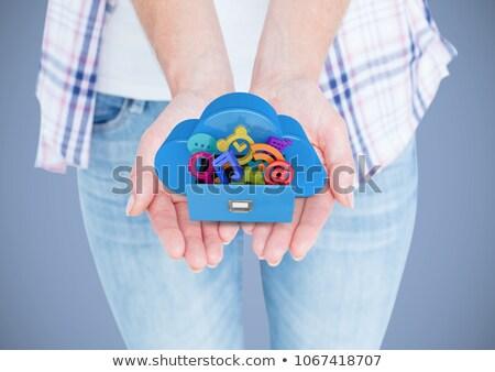 Kezek felhő fiók alkalmazás ikonok bent Stock fotó © wavebreak_media