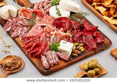 Antipasti blanco placa mesa carne cuchillo Foto stock © tycoon