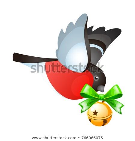repülés · arany · izolált · fehér · rajz · karácsony - stock fotó © Lady-Luck