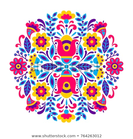 Mexican floral and abstract vector design elements, colorful traditional folk art patterns from Mexi Stock photo © RedKoala