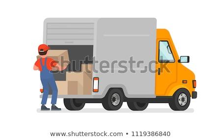 Işçiler paketleri kargo vektör çalışma Stok fotoğraf © robuart
