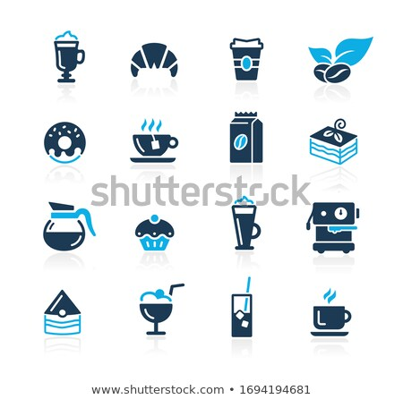Kahvehane simgeler masmavi vektör kahve kahvaltı Stok fotoğraf © Palsur