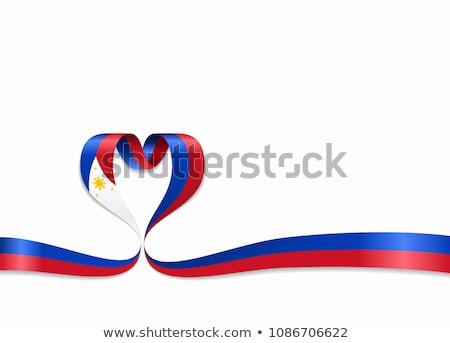 Banderą Filipiny serca napis miłości Zdjęcia stock © butenkow