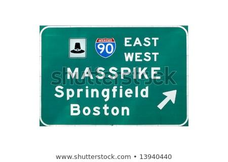 Бостон Массачусетс шоссе знак зеленый США облаке Сток-фото © kbuntu