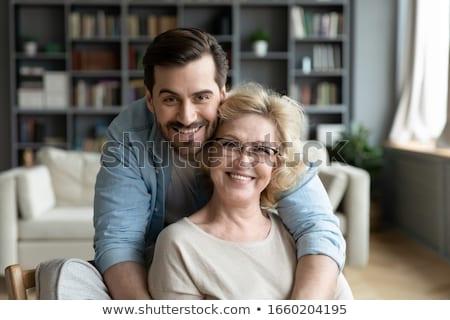 Anya fiú virágok haj születésnap szemüveg Stock fotó © photography33