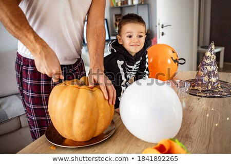 Little boy and parents getting ready for Halloween Stock photo © photography33