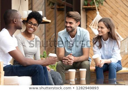Amusant partij verhaal knappe man smoking glas Stockfoto © lisafx