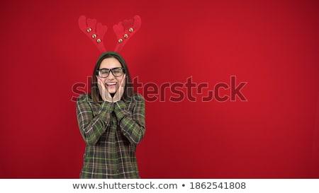 félénk · fiatal · nő · karácsony · jelmez · teljes · alakos · portré - stock fotó © feedough