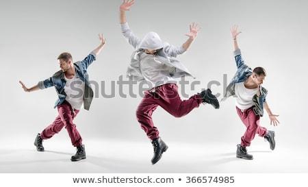 jóképű · modern · férfi · tánc · szürke · testmozgás - stock fotó © get4net