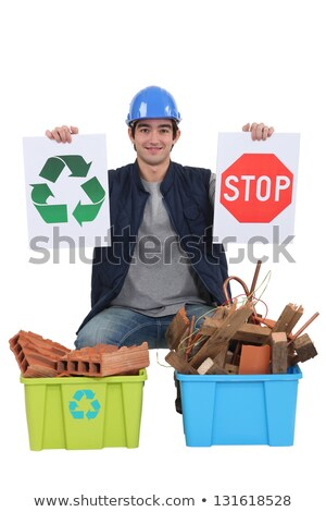 Construction worker encouraging people to recycle Stock photo © photography33