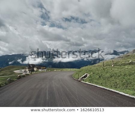 silhuetas · montanhas · pôr · do · sol · paisagem · céu · fundo - foto stock © zittto