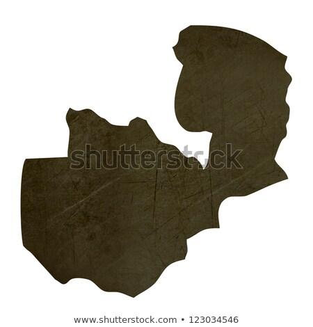 Dark silhouetted map of Zambia Stock photo © speedfighter