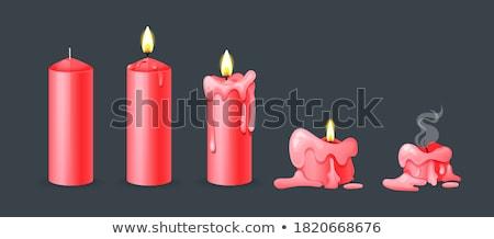 красный свечей стекла подсвечник вечеринка огня Сток-фото © oneinamillion
