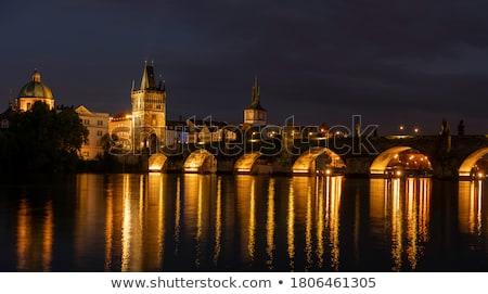 View of Vltava river with Charles bridge in Prague, Czech republ Stock photo © lightpoet