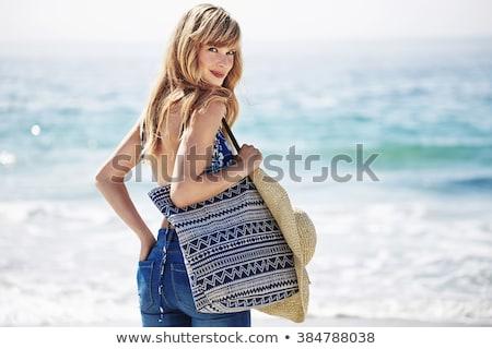 gelukkig · jonge · vrouwen · bikini · poseren · zomer · strand - stockfoto © wavebreak_media