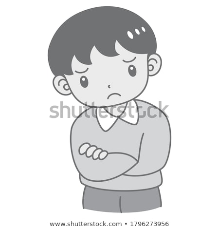 retrato · cute · nino · pubertad · acné · sonrisa - foto stock © meinzahn