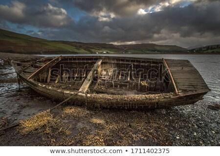 Destruir velho barco areia nublado tempo Foto stock © Elenarts