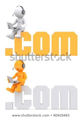 3d character sitting on com domain sign stock photo © kirill_m