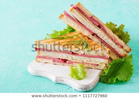 fresco · sanduíches · carne · legumes · isolado · branco - foto stock © karandaev