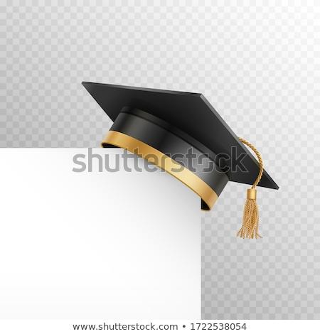 孤立した 現実的な 黒 学生 帽子 研究 ストックフォト © TarikVision
