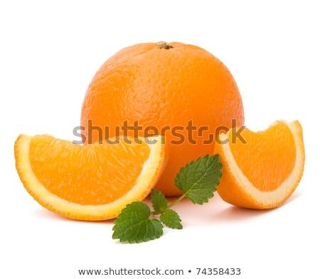 narancs · rész · menta · levél · izolált · fehér - stock fotó © natika