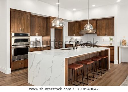 Parlak modern mutfak kare her ikisi de doğal ışık Stok fotoğraf © emirkoo