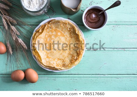 Crepe tojás vacsora ebéd étel gyógynövény Stock fotó © M-studio
